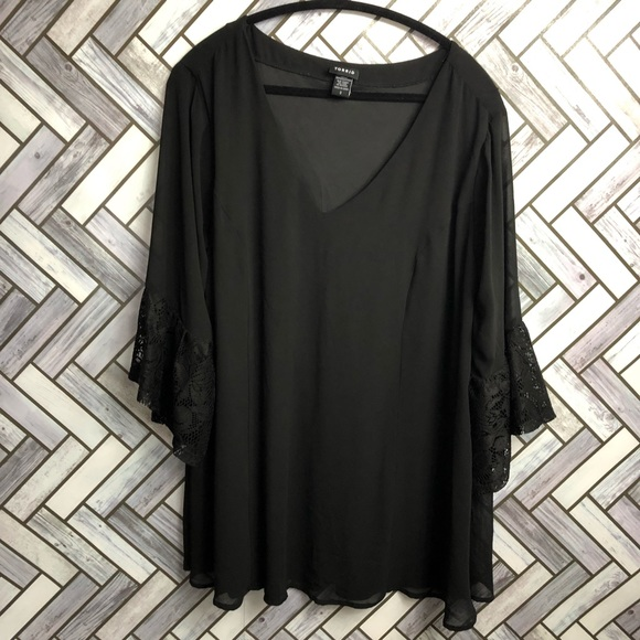 Torrid Black Lace Belle Sleeve Vneck Blouse